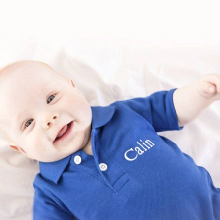 Personalised Polo Bodysuit In Royal Blue